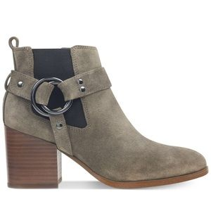 Marc Fisher View suede buckle harness booties 7.5